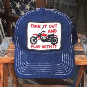 ダートトラッカー TAKE IT OUT AND PLAY WITH IT BUDDY オリジナル ワッペン付きデニムキャップ OTTO オットー ベースボールキャップ バイク モトクロス|buddy-us-clothing