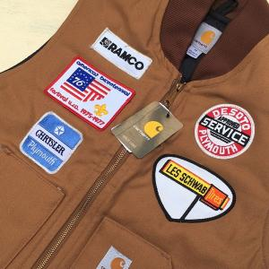 カーハート ワッペン付き ダックベスト ブラウン Mサイズ 日本のLサイズ相当 BUDDY オリジナル Carhartt V01 Duck Vest Quilt-Lined V01BRN 中綿 アメカジ |buddy-us-clothing