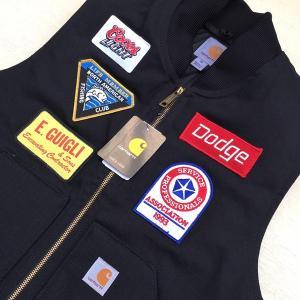 カーハート ワッペン付き ダックベスト ブラック Mサイズ(日本のLサイズ相当)BUDDY オリジナル Carhartt V01 Duck Vest Quilt-Lined V01BLK 中綿 アメカジ |buddy-us-clothing