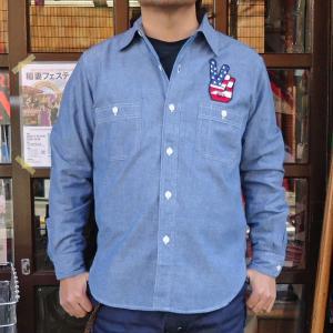 ワッペン付シャンブレーシャツ BUDDY オリジナル SPRINGFORD アメカジ メンズ 長袖 ワークシャツ NHRA CHAMBRAY SHIRTS PEACE buddy-us-clothing