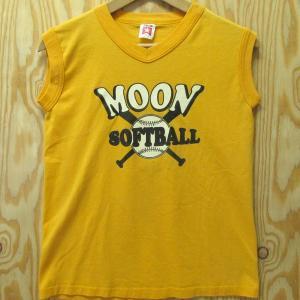 USA製古着 Tシャツ BOMARK ノースリーブ Youth L イエロー 黄色 ソフトボール アメリカ製 スリーブレス|buffalohip