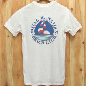 ビンテージ古着 Tシャツ ROYAL HAWAIIAN BEACH CLUB Stadman/ステッドマン M 80年代 アメリカ製 バックプリント|buffalohip