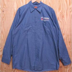 古着 ワークシャツ RED KAP/レッドキャップ L-LN Chevronシェブロン 刺繍ロゴ アメリカ製 ワークウェア buffalohip