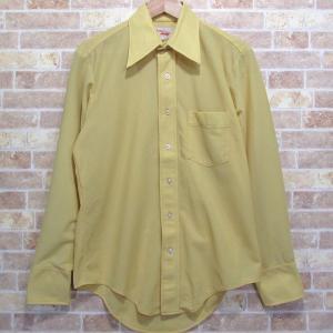 ビンテージ ポリシャツ ARROW knits/アロー デカ襟  15.1/2-34 イエロー ドレス・ディスコ・シャツ 古着 長袖|buffalohip