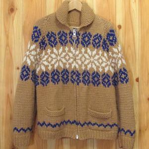 古着 カウチン セーター ノルディック柄 雪柄 茶×青×白 スノー ニット ウール ジャケット|buffalohip
