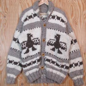 古着 カウチン ジャケット セーター サンダーバード柄 メープル柄ボタン ニット|buffalohip