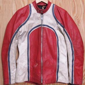 古着 TF Leathers シングル ライダース ジャケット 42 赤×白 革ジャン レザー|buffalohip
