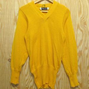 60年代 Loma KNITTING MILLS Vネック セーター 36 イエロー ビンテージ 古着 60' ニット ウール|buffalohip