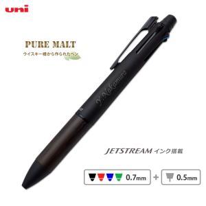 (名入れ 多機能ボールペン)ピュアモルト 4&1/ジェットストリーム/三菱鉛筆//ギフト/ウイスキー樽素材使用