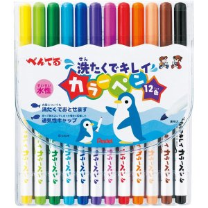 【ネコポス対応〇】ぺんてる 洗濯でキレイ 水性カラーペン 1...