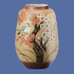 8号花瓶 金彩紅白梅に文鳥|bunchoya