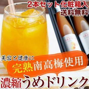 完熟梅ジュース(紀州南高梅使用)500ml 2本セット化粧箱入 送料無料! 香り高く濃厚なコクのある梅ドリンク (fy5) bundara