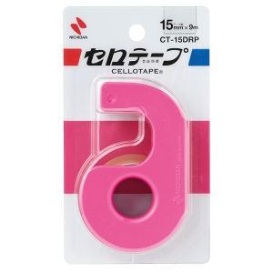 ニチバン/セロテープ 小巻 カッターつき(CT-15DRP)ピンク 15mm幅 長さ9m 刃の両端にガード付き 手でも切れる NICHIBAN|bungle