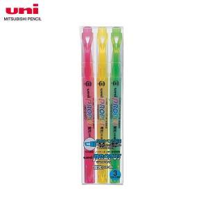 【3色セット・太字角芯+細字丸芯】三菱鉛筆/蛍光ペン PROPUS WINDOW(プロパス・ウインドウ)スタンダードカラー PUS-102T3C|bungle
