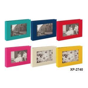 【全6色】セキセイ/ハーパーハウス フレームポケットアルバム 40枚収容 Lサイズ 布貼り表紙 (XP-2740) sedia 写真が映える黒台紙です。|bungle