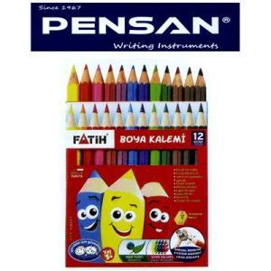 トルコの筆記具メーカー「PENSAN」☆ 鉛筆のキャラクターが描かれたユニークなパッケージ 3mm芯のハーフサイズ色鉛筆12色|bungu-mori