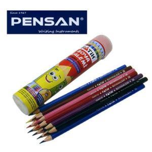 トルコの筆記具メーカー「PENSAN」☆ 鉛筆のキャラクターが描かれたユニークな丸型パッケージ チューブ色鉛筆12色|bungu-mori