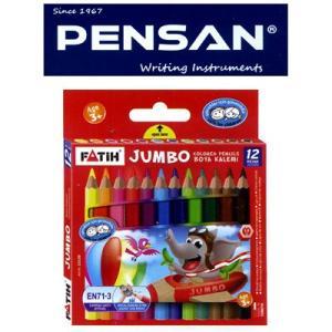 トルコの筆記具メーカー「PENSAN」☆ 鉛筆のキャラクターが描かれたユニークなパッケージ 5mm芯のハーフサイズ太軸色鉛筆12色|bungu-mori