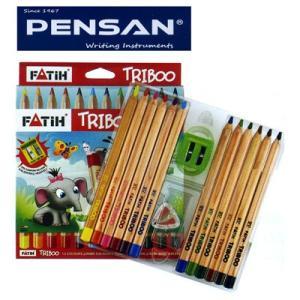 トルコの筆記具メーカー「PENSAN」☆ 木の素材を感じられるナチュラルな軸に持ちやすい太軸三角軸 5.4mm芯のトリボー・ナチュラル太軸色鉛筆12色|bungu-mori