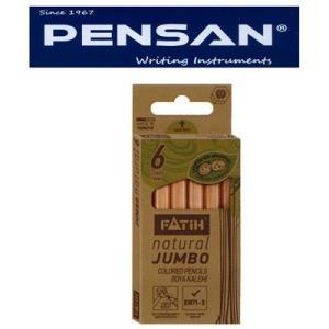 トルコの筆記具メーカー「PENSAN」☆ 鉛筆のキャラクターが描かれたユニークなパッケージ 5mm芯のハーフサイズ・ナチュラル太軸色鉛筆6色|bungu-mori