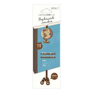 ミドリ しおりシール 刺繍 地球儀柄 手帳やノートの表紙に貼ることで、しおり付きにカスタマイズできる...