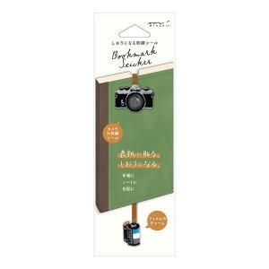 ミドリ しおりシール 刺繍 カメラ柄 手帳やノートの表紙に貼ることで、しおり付きにカスタマイズできる...