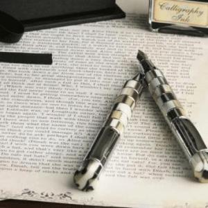 ホワイト調の柄と軸に施されたシルバーのリングが美しいデザイン ダライッティ 万年筆・ボールペンセット|bungu-mori