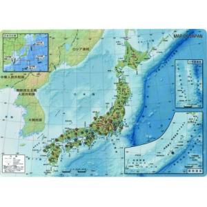 日本の地図と建造物や特産品、偉人などの資料が入ったオシャレなデザイン 日本地図下敷きA4サイズ|bungu-mori