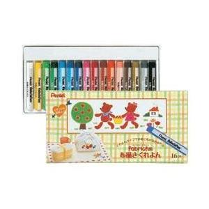 布に描いてアイロンをかけるだけで絵が染み込む ぺんてる ファブリックファン布描きクレヨン16色|bungu-mori