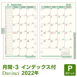 システム手帳リフィル 2017年 ポケット ミニ6穴 ダ・ヴィンチ 月間-3 DPR1737(メール便対象)