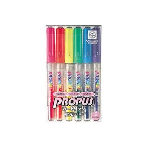 三菱鉛筆 蛍光マーカー プロパス PROPUS 詰替え式 PUS-155 6色セット メール便可|bunguya