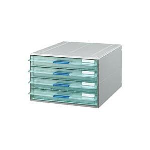 コクヨ LC-UNT104M レターケース UNIFEEL 透明引き出し A4縦 浅型4段 ライトグレー|bunsute