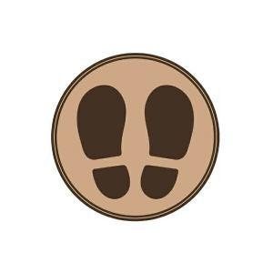 ヒサゴ SR026 フロア誘導シール 足型 丸 ブラウン 1枚 bunsute