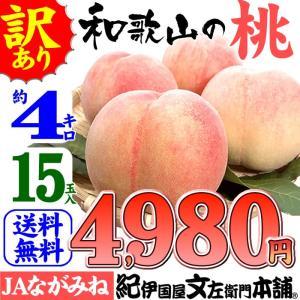 紀州和歌山の桃 (ご家庭用 お買得品)4kg/15玉入  ながみね高津 わけあり 訳あり(規格外 不揃い)|bunza