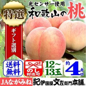 紀州和歌山の桃 (特選ギフト)4kg/12〜13玉入 ながみね高津|bunza