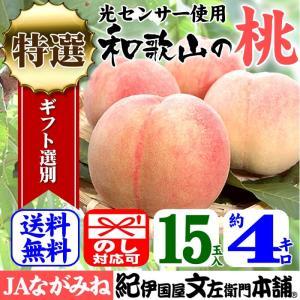 桃・紀州和歌山の桃 (特選ギフト)4kg/15玉入 ながみね高津|bunza