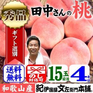 桃!紀州和歌山 大きなわかやまの桃(もも) 15玉前後:約4kg(白鳳・嶺鳳・白桃) 化粧箱入|bunza
