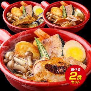 (送料無料)3種から選べる北海道.スープカレー2食. レトル...