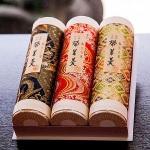 帯羊羹3本(小倉・抹茶・栗) ギフトセット 桐生金襴織物巻き bussan10