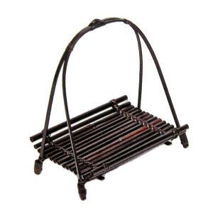 竹食器 鮎皿ワンタッチ柄付黒 14-11 bussankan