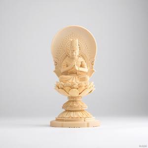仏像 大日如来 ヒノキ製 丸座 1.8寸 真言宗|busse
