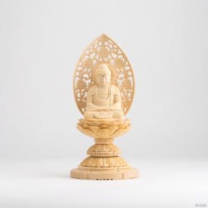 仏像 釈迦如来 座像 ヒノキ製 丸座 1.8寸 曹洞宗・臨済宗・天台宗|busse