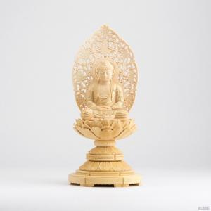 仏像 釈迦如来 座像 柘植製/ツゲ 丸座 2寸 金泥書 曹洞宗・臨済宗・天台宗|busse