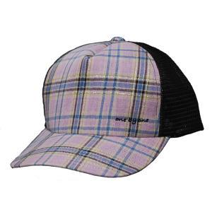 ラメチェックのメッシュキャップ ピンク one by one clothing |bussel