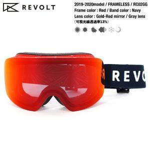 REVOLT FRAMELESS RC02GG Gold-Red mirror/Gray lens 2019-2020model スノーボードゴーグル|bussel