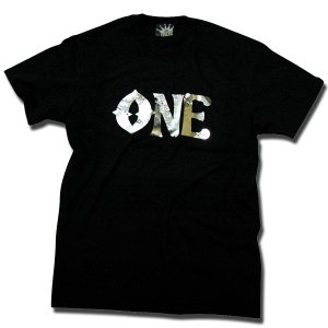 SLIM FIT Tシャツ 箔プリント ブラック one by one clothing|bussel