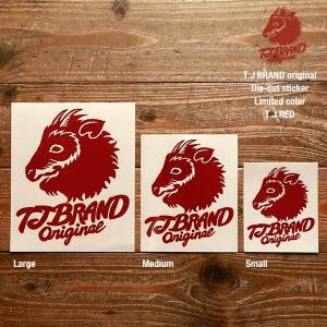 TJ BRAND ORIGINAL Die-cut Sticker TJ red Large / ティージェイブランド オリジナル ダイカットステッカー 限定カラー|bussel