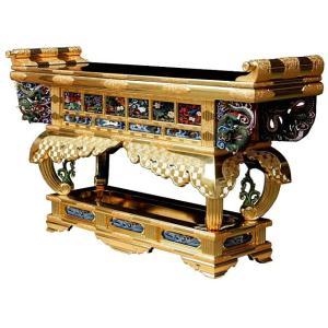 寺院 仏具 寺院用(本願寺派 西) 寺院仏具 木製 純金箔 六鳥型前卓 5.0尺|butsudansyokunin