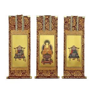 仏具 茶表装掛け軸 掛軸 天台宗 50代 3枚セット butsudansyokunin