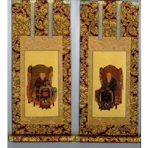 仏具 茶表装掛け軸 掛軸 曹洞宗 両脇セット 150代|butsudansyokunin